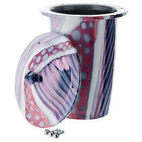 Urna cineraria ceramica con pomelli bianco fantasia s2