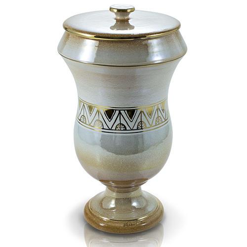 Urna cineraria in ceramica iris con greca 1