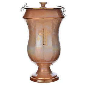 Cinerary urn in ceramic, iris colour with cross s1