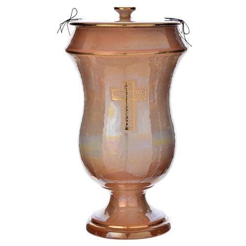 Cinerary urn in ceramic, iris colour with cross 1