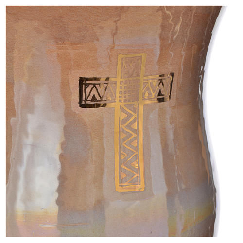 Cinerary urn in ceramic, iris colour with cross 2