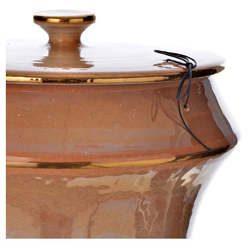 Cinerary urn in ceramic, iris colour with cross 3