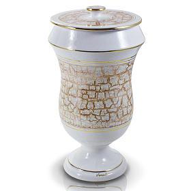 Urna cineraria in ceramica bianco oro s1