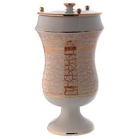 Urna cineraria in ceramica bianco oro s2