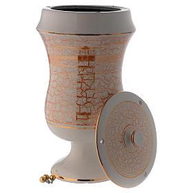 Urna cineraria in ceramica bianco oro s3