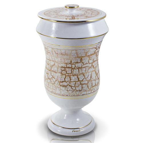 Urna cineraria in ceramica bianco oro 1