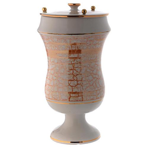Urna cineraria in ceramica bianco oro 2