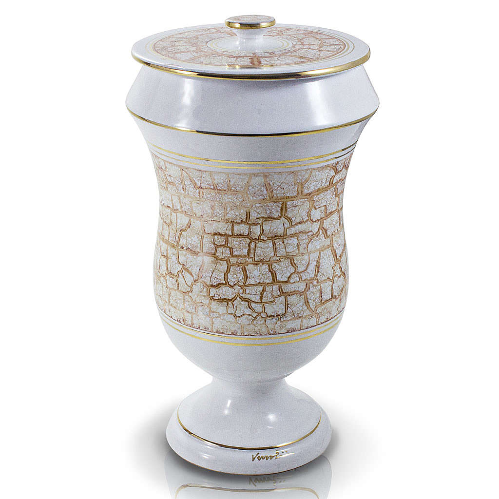 Cremation urn in ceramic, white and gold colour 3