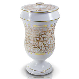 Cremation urn in ceramic, white and gold colour s1