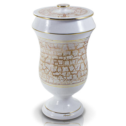 Cremation urn in ceramic, white and gold colour 1