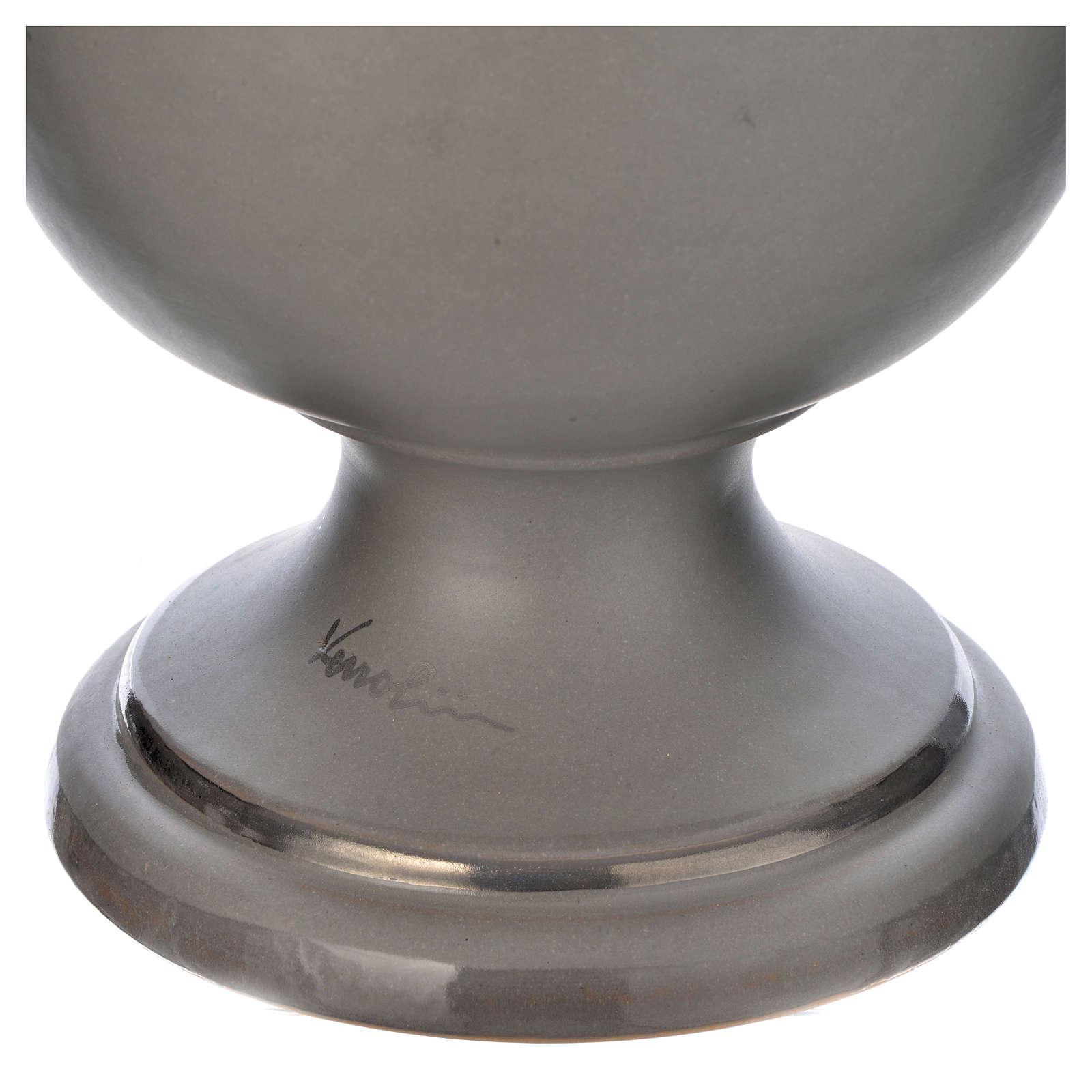 Urna cineraria in ceramica grigio chiaro 3