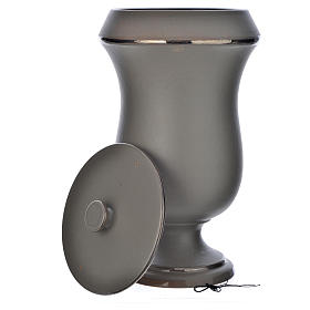 Urna cineraria in ceramica grigio chiaro s4