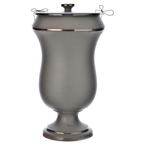 Urna cineraria in ceramica grigio chiaro 1