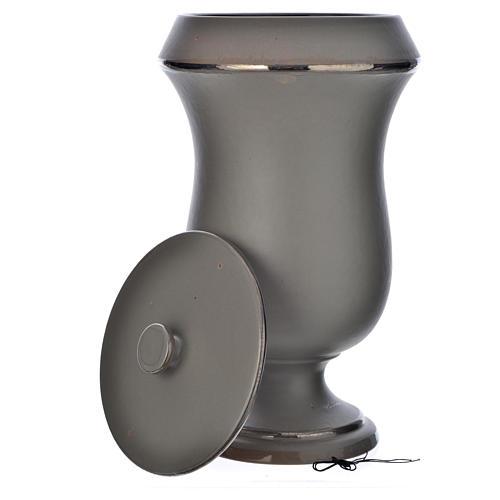 Urna cineraria in ceramica grigio chiaro 4