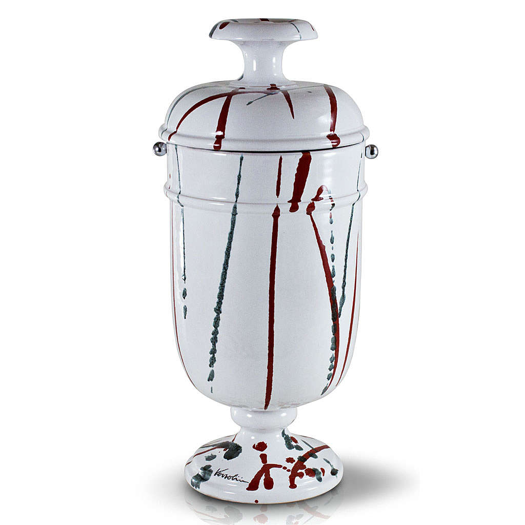 Cremation urn in ceramic, drops of colour on white 3