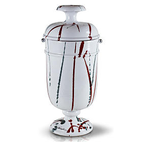 Cremation urn in ceramic, drops of colour on white s1
