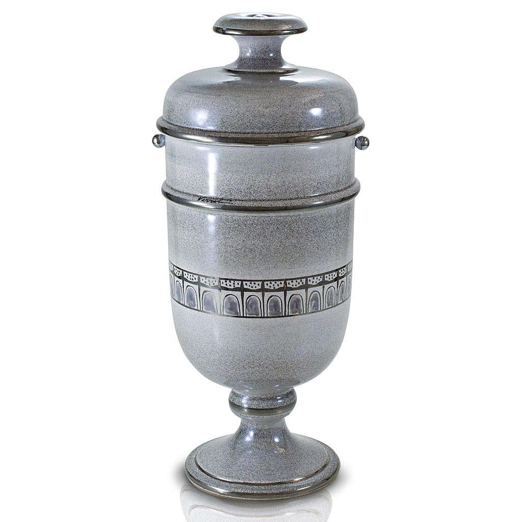 Urna cineraria ceramica perla con platino 3
