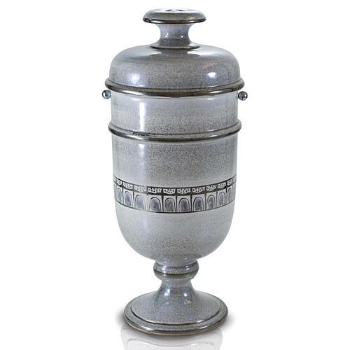 Urna cineraria ceramica perla con platino 1