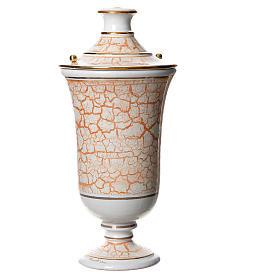 Urna funeraria ceramica bianco oro s1