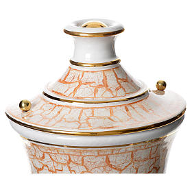 Urna funeraria ceramica bianco oro s2