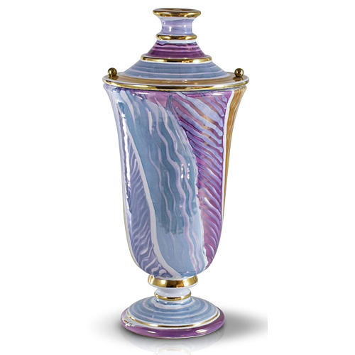 Urna funeraria ceramica bianco fantasia 1
