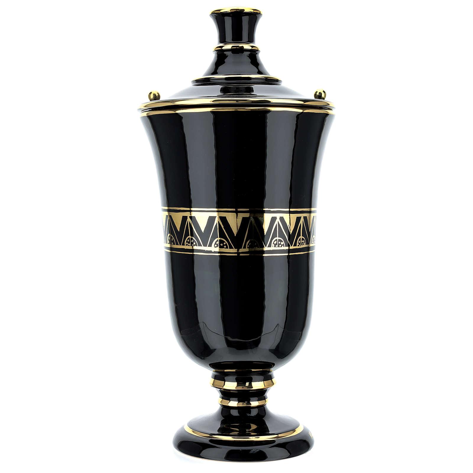 Urna funeraria ceramica nero oro lustri 3
