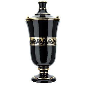 Urna funeraria ceramica nero oro lustri s1