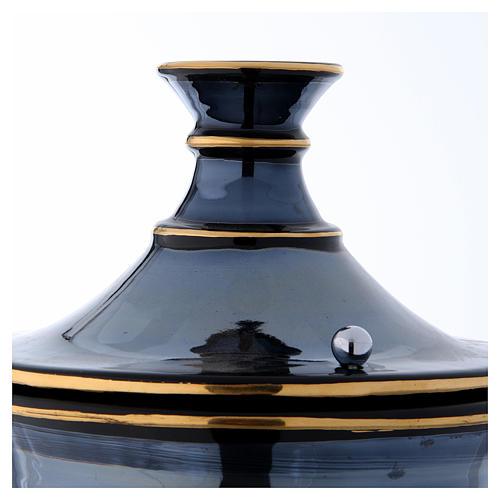 Urna funeraria ceramica nero oro lustri 4