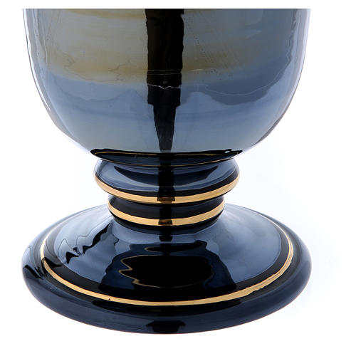 Urna funeraria ceramica nero oro lustri 6
