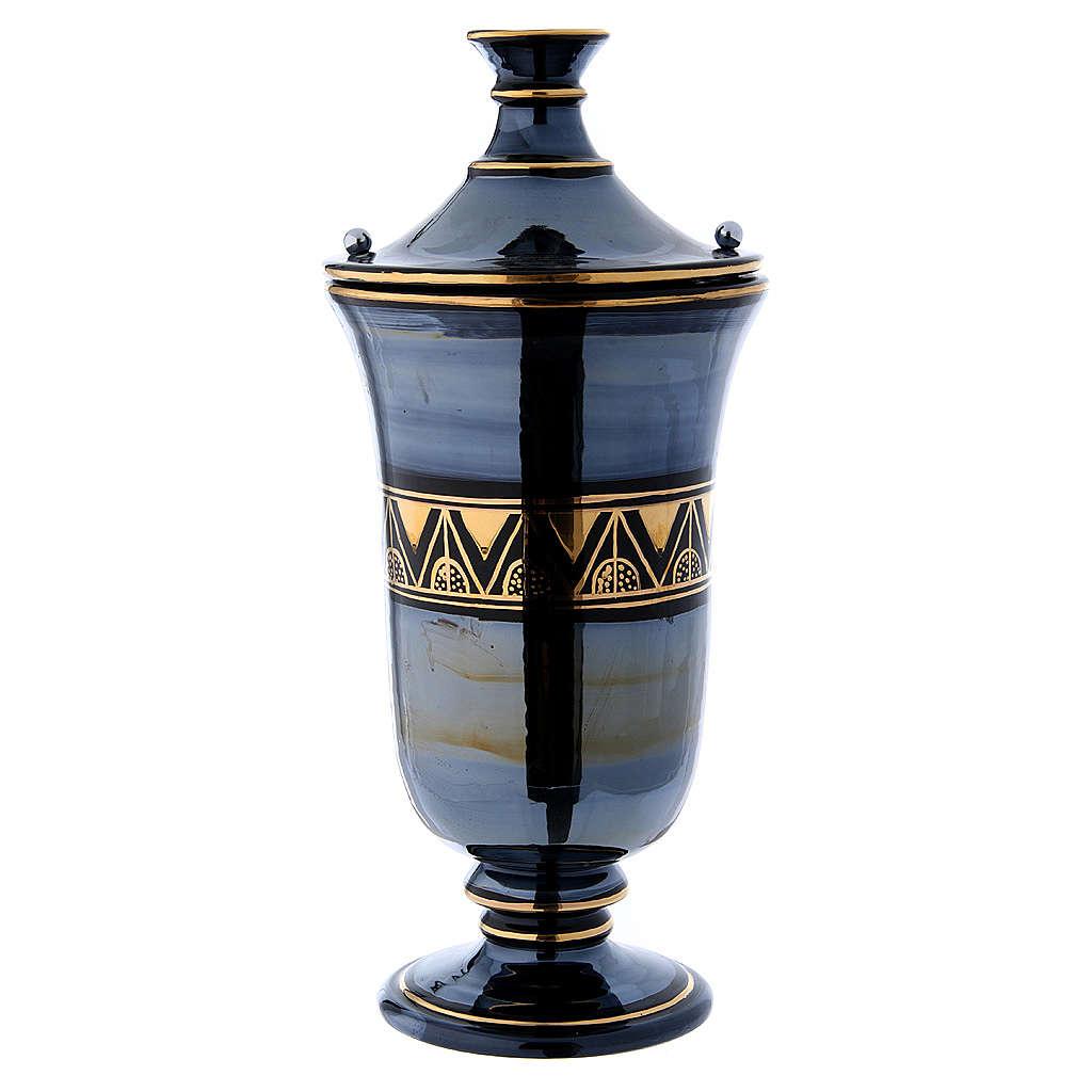 Cremation urn in ceramic, bright black 3