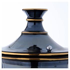 Cremation urn in ceramic, bright black s4