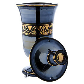 Cremation urn in ceramic, bright black s7