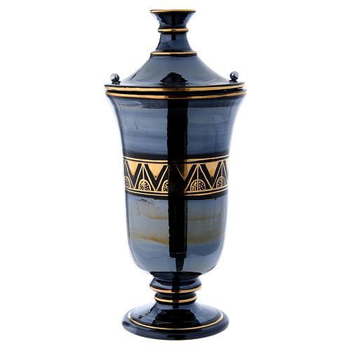 Cremation urn in ceramic, bright black 1