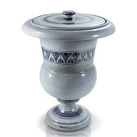 Urna funeraria in ceramica perla con platino s1