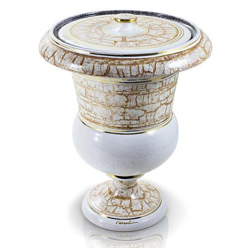 Urna funeraria in ceramica bianco oro 1