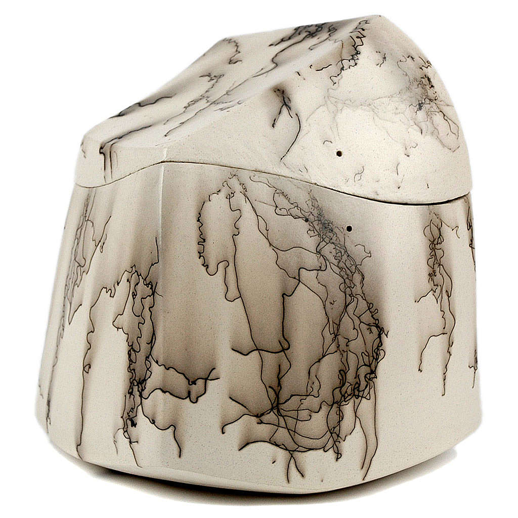 Cremation urn, horsehair square 3/10 3