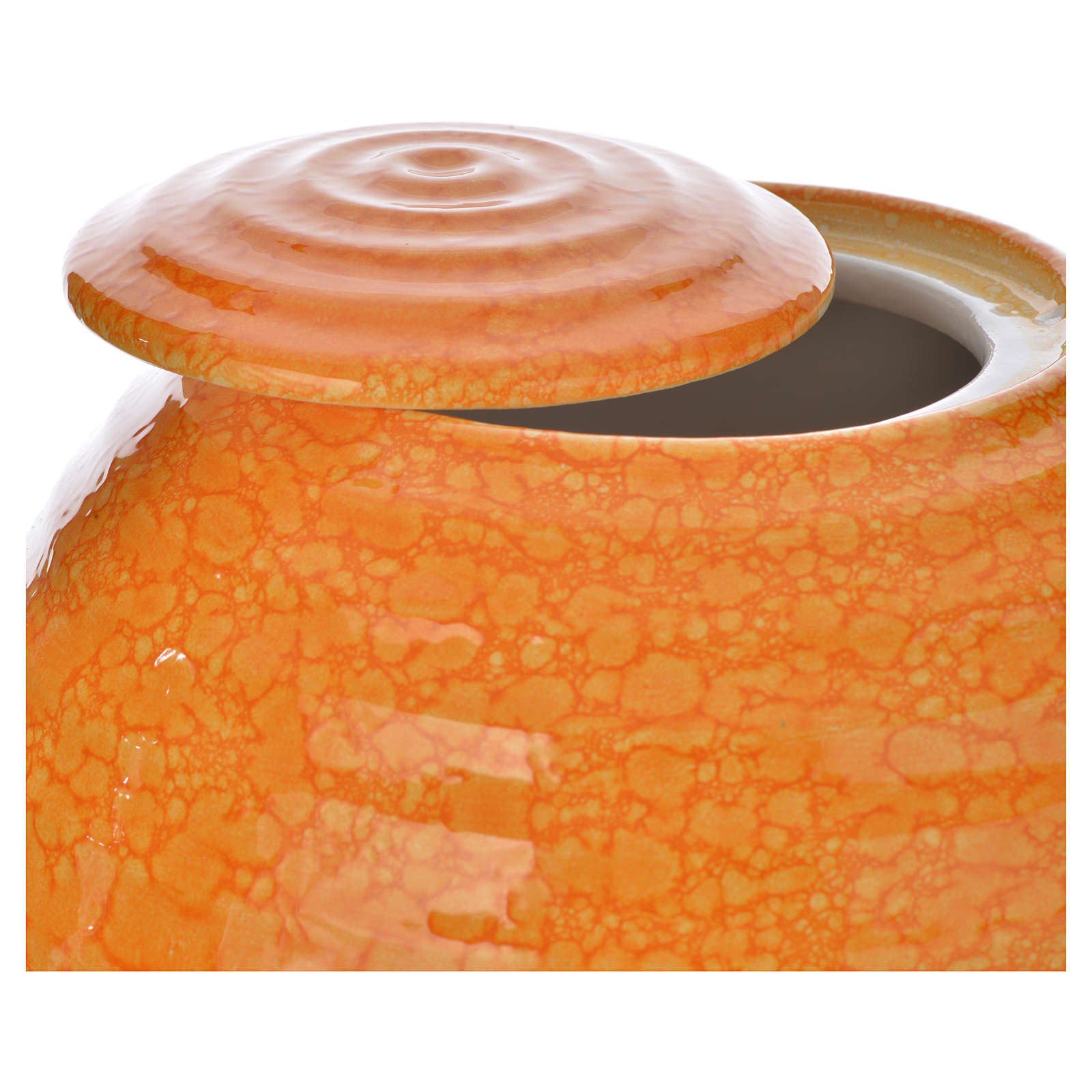 Cremation urn in porcelain, Murano model, orange 3