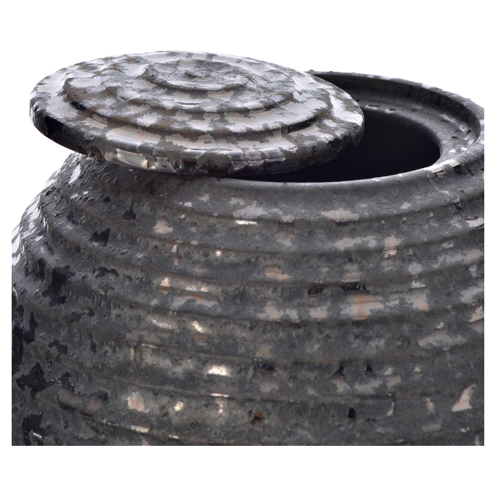 Urn for ashes in enamelled porcelain, Black Tecno model 3