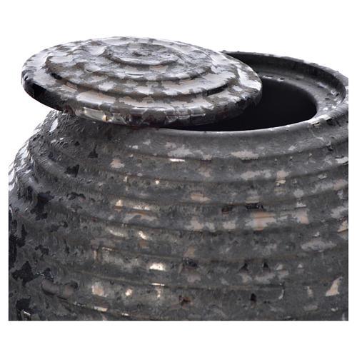 Urn for ashes in enamelled porcelain, Black Tecno model 2
