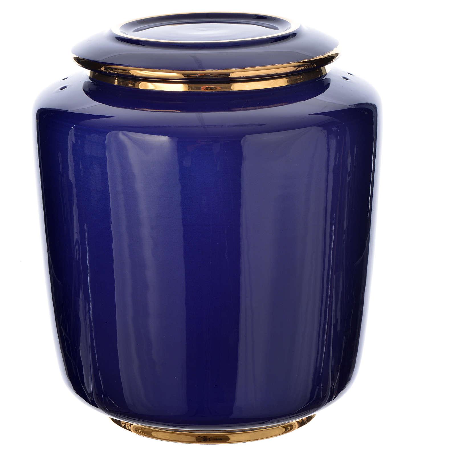 Urna cineraria porcellana smaltata mod. Blu Oro 3