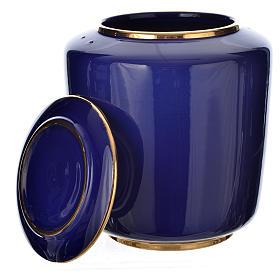 Urna cineraria porcellana smaltata mod. Blu Oro s2