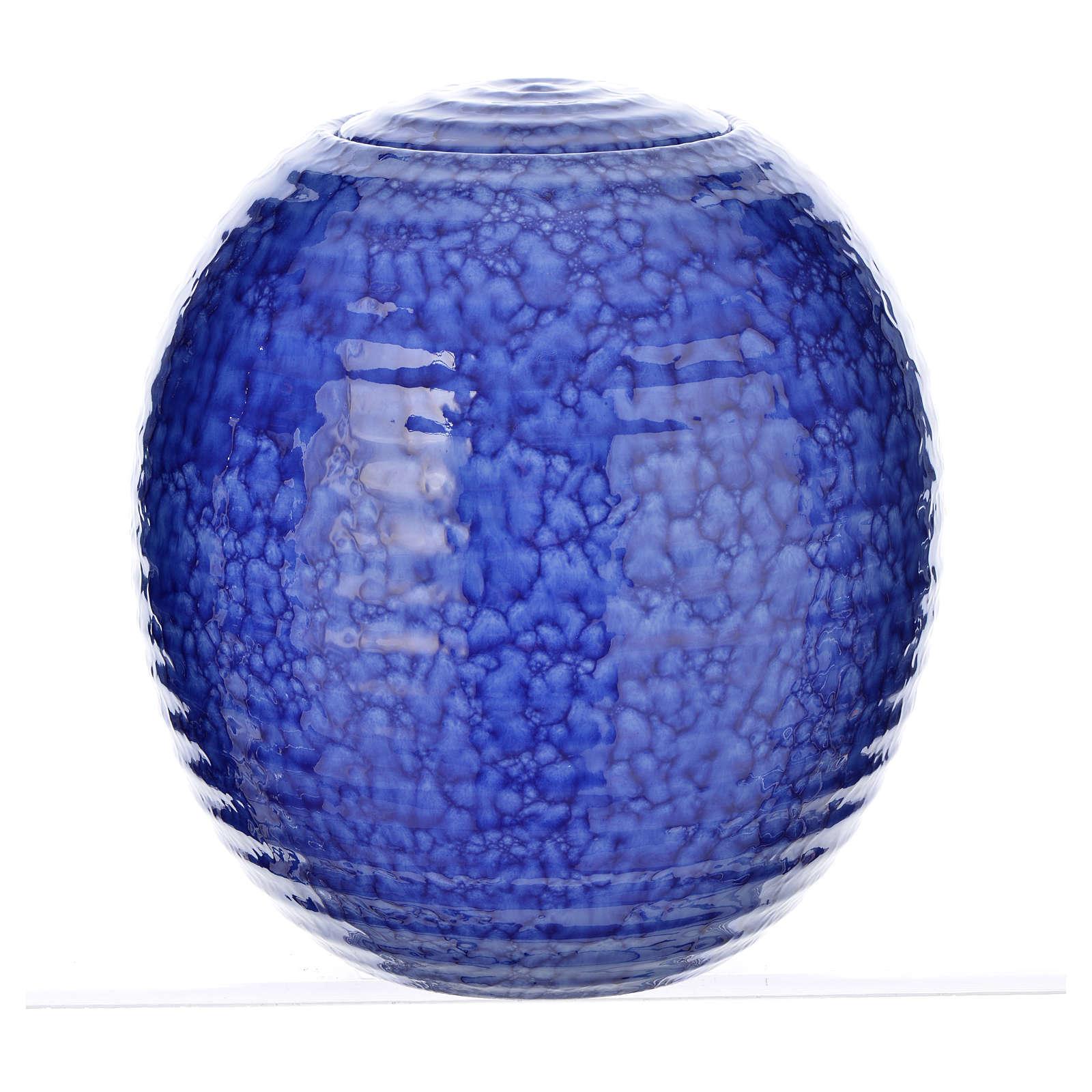 Urna cineraria porcellana smaltata mod. Murano Blu 3