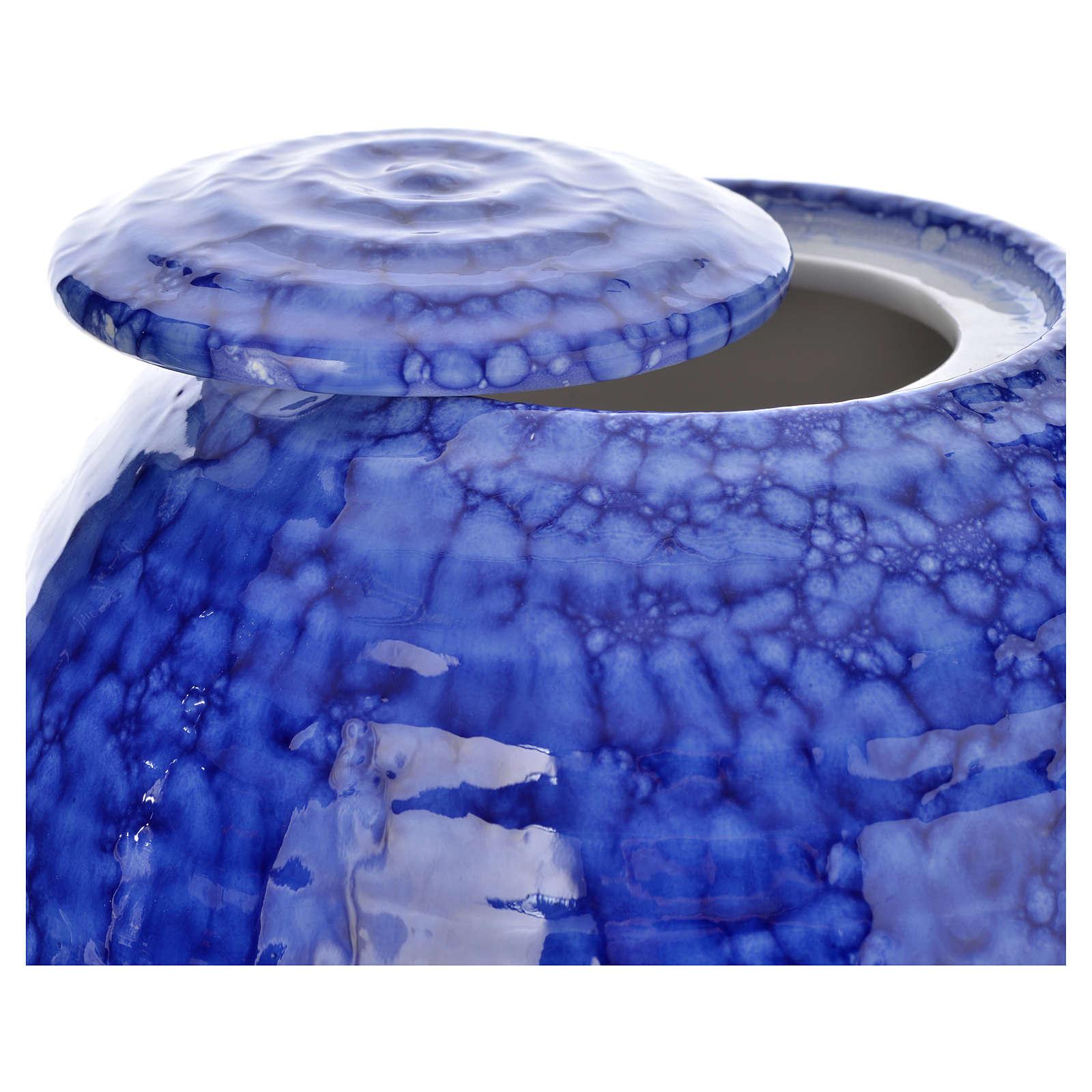 Urn for ashes in ceramic Murano Blue model 3