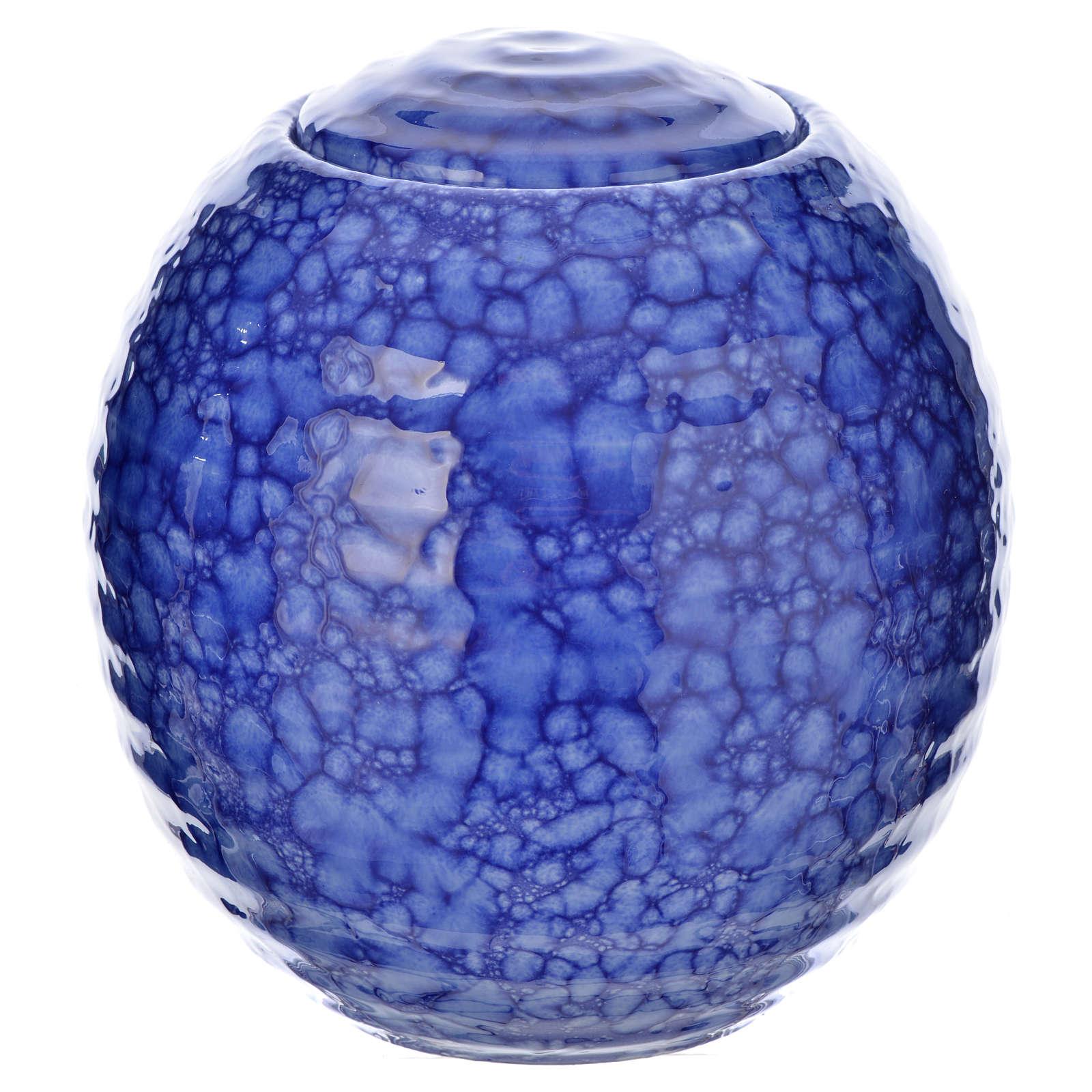 Urnetta funeraria porcellana smaltata mod. Murano Blu 3