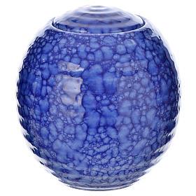 Urnetta funeraria porcellana smaltata mod. Murano Blu s1