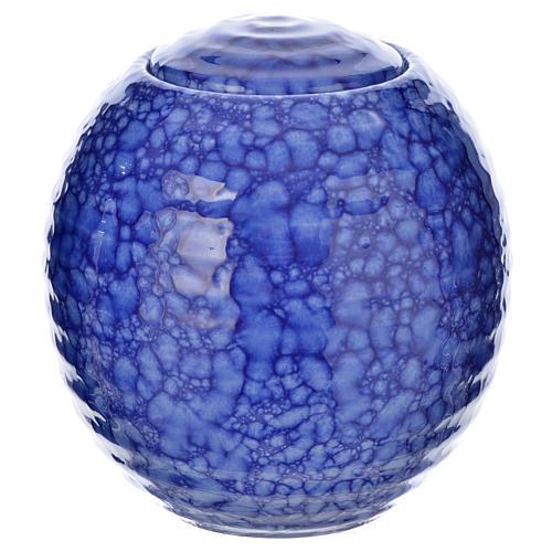 Urnetta funeraria porcellana smaltata mod. Murano Blu 1