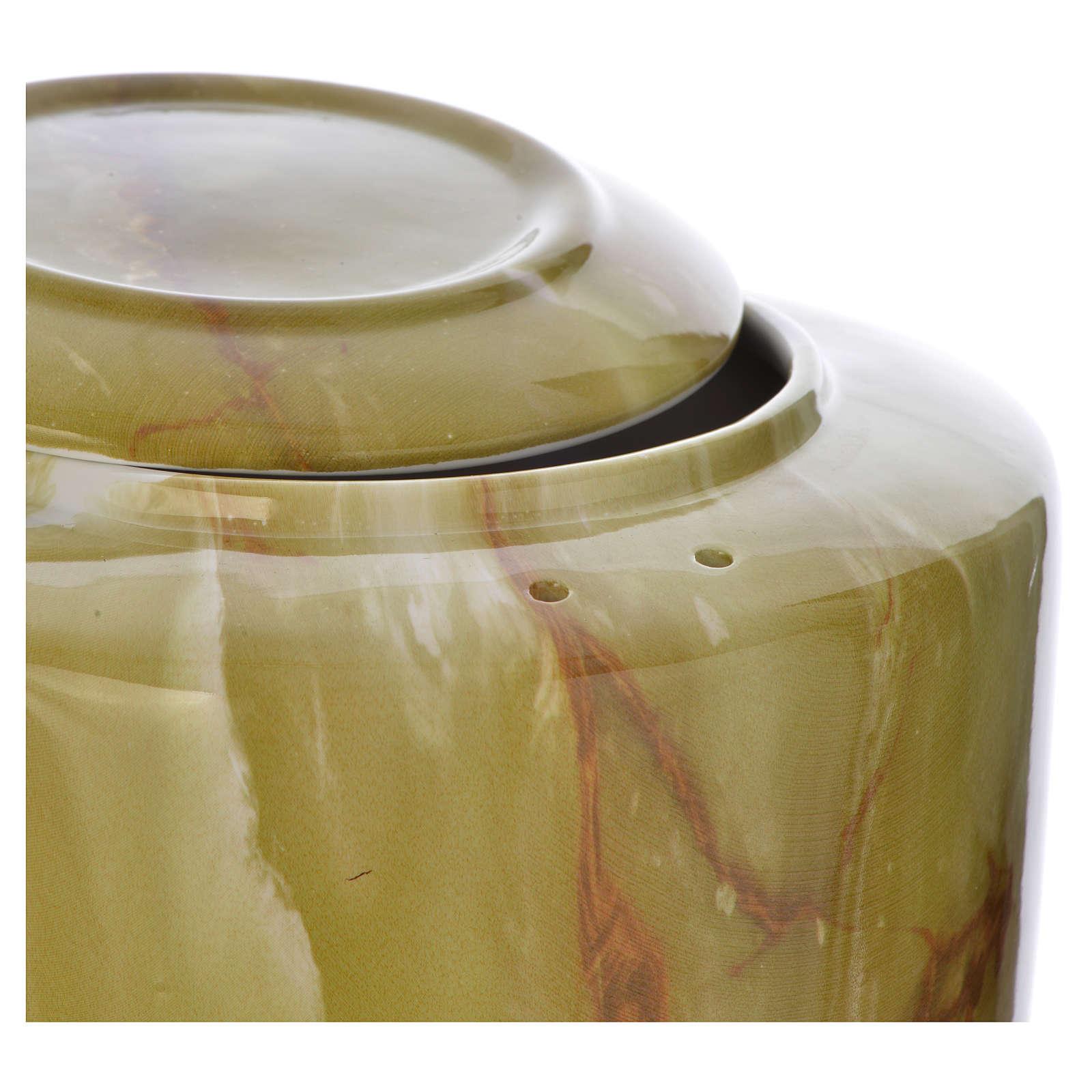 Cremation urn in ceramic Green Onyx model 3