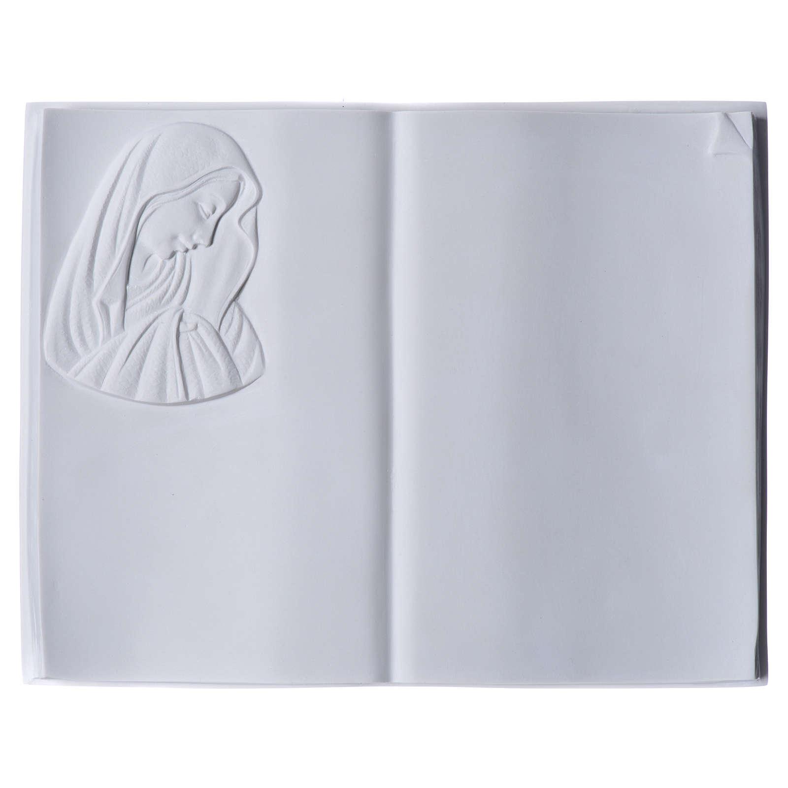 Plaque Funeraire Livre Et Vierge En Marbre Synthetique