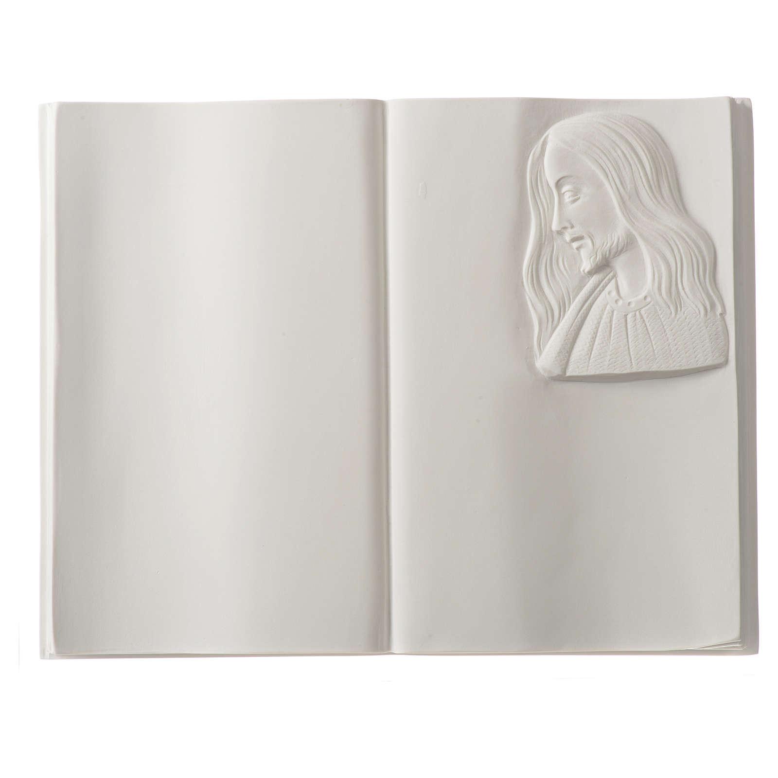 Plaque funéraire livre et Christ en marbre synthétique 3