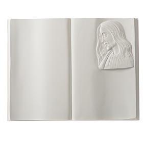Plaque funéraire livre et Christ en marbre synthétique s1